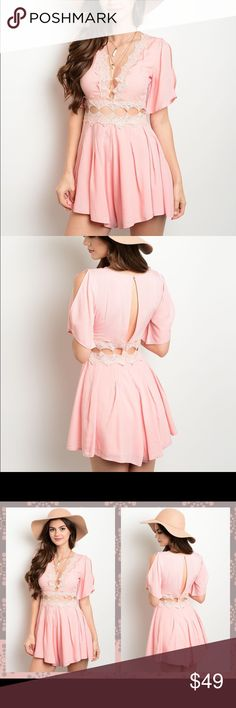 Light peach pink lace trim cold shoulder romper L This short jumpsuit features white lace trimming in a beautiful peach/ pink color. A line flare out design for a figure flattering look. Price is firm/ not accepting offers. Bundle discount only  Pants Jumpsuits & Rompers