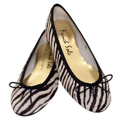 French Sole Henrietta Zebra Pony Hair Ballet Flats