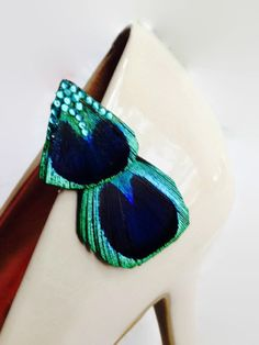 One Peacock Feather Teal Rhinestone Shoe Clip by YoungSparkleandShine on Etsy