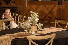 Country Wedding, Centerpieces Mason Jars Babies Breath  Roses Black and Burlap