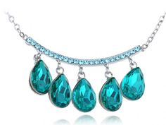 Aquamarine Teal Vibrant Hanging Five Drop Crystal Element Necklace Contact: (702) 751-3523  Email: info@pakrobe.com  Skype: PakRobe