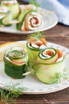 Party Snacks, Fresh Rolls, Finger Foods, Cucumber, Tapas, Nom Nom, Food And Drink, Healthy Recipes, Fruit