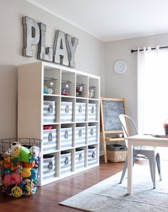 Boys' Industrial Farmhouse Playroom-Reveal - Chesapeake Chic Check out how we gave their old babyish playroom a complete makeover and turned it into a boys' industrial farmhouse playroom. Small Playroom, Toddler Playroom, Playroom Design, Playroom Decor, Bedroom Decor, Modern Bedroom, Kids Play Rooms, Small Kids Playrooms, Playroom Paint