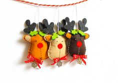 Felt reindeer ornament  pack of 3 by MiracleInspiration on Etsy