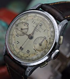 Vintage UNION SOLEURE Chronograph Suisse Landeron 48 Military Watch in Jewellery & Watches, Watches, Wristwatches | eBay