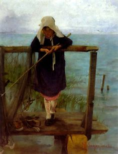 Girl Fishing, 1884 by Helene Schjerfbeck on Curiator, the world's biggest collaborative art collection. Art Painting, Fish Art, Painting Illustration, Painting, Art, Art Pictures, Scandinavian Art, Schjerfbeck, Art History