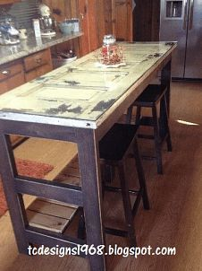kitchen island made from an old door, diy, repurposing upcycling, woodworking projects, Kitchen Island with 1 4 Glass on top for easy cleaning and 24 Bar stools purchased at Walmart Old Door Projects, Furniture Projects, Home Projects, Diy Furniture, Rustic Furniture, Furniture Removal, Street Furniture, Furniture Companies, Antique Furniture
