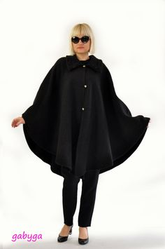 Woman autumn winter, spring cape,coat ! Nice soft 100% WOOL fabric. Maxi cape. Elegant black cape. So chick and sexy. Black cape with black made