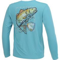 The CCA™ Men's Performance Painted Redfish Long Sleeve T-shirt is made of moisture-managing polyester with front and back CCA™ graphics.