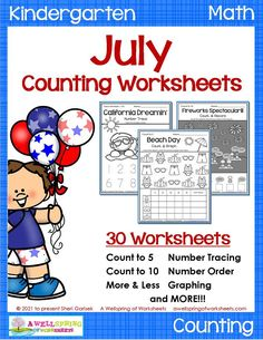 In this set you'll find some awesome summer counting worksheets for kindergarten specifically for the month of July. Includes counting to 5, counting to 10, color by number, number order, number tracing to 5, number tracing to 10 and number tracing to 20. Plus there's more - 4th of July worksheets! Please take a look at this 30 page set! I think you're gonna like it..... :) Counting Worksheets For Kindergarten, Summer Worksheets, Graphing Worksheets, Alphabet Tracing Worksheets, Kindergarten Age, Number Number, Number Tracing, Upper And Lowercase Letters, Lower Case Letters