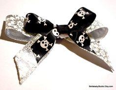 Silver Jolly Roger Skull Bow by BELLABABYSTUDIO on Etsy, $5.00