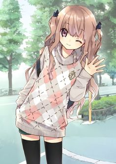 ✮ ANIME ART ✮ clothes. . .cute fashion. . .oversized sweater. . .long hair. . .hair ribbons. . .thigh high stockings. . .cute. . .kawaii