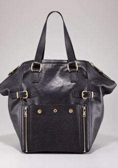 d95e31e0062c YVES SAINT LAURENT Brown Leather Downtown Tote Bag High End Handbags