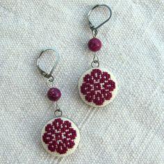 Dangle earrings for sensitive ears Purple earrings stainless steel Marsala earrings Hypoallergenic earrings Hand Embroidered earrings