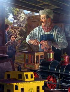 Walt is in his barn working on a toy train that these boys desperately want to play with, and the other boy notices a real train coming in on the tracks behind him. This print is signed and numbered w