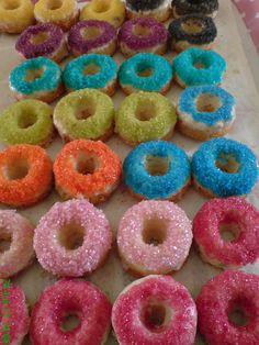 coloured sugar donuts