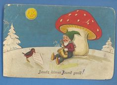 L Gnome and  lucky Mushroom Vintage european postcard