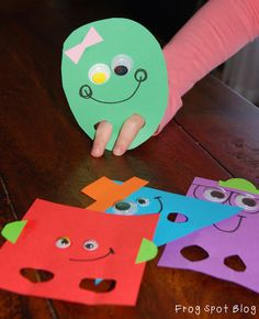 Frog Spot: 2D Shape Puppets - fun ideas for teaching about 2D shapes #preschool #kidscrafts #shapes