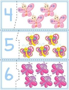 Teach counting skills with butterflies! Great for teaching counting skills and number recognition for numbers . Autism Activities, Toddler Learning Activities, Numbers Preschool, Free Preschool, Subtraction Kindergarten, Counting For Kids, Free Printable Art, School Fun, Butterfly