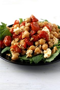 Make this Roasted Tomato w/Chickpeas & Feta dish for lunch or dinner.