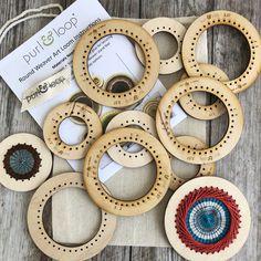 Wood Display Tree with Round Weavers – Purl & Loop Wood Crafts, Diy And Crafts, Arts And Crafts, Creative Crafts, Weavers Art, Dorset Buttons, Wood Display, Wood Tree, Penny Rugs