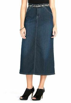 Cato Fashions Belted Embellished Pocket Long Denim Skirt