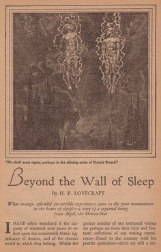 venusmilk:  thegildedcentury:  Weird Tales, March, 1938  What an amazing illustration for one of my favorite Lovecraft stories♥