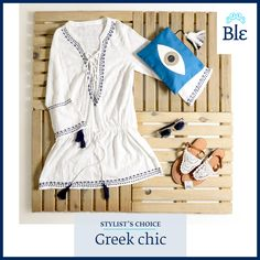 """Go """"greek chic"""" with a dress inspired by the deep blue sea of the Aegean, lace leather sandals and cool wooden sunglasses! Find them all here www.ble-shop.com #stylistschoice #blestyle Wooden Sunglasses, Deep Blue Sea, Leather Sandals, Stylists, Greek, Rompers, Summer Dresses, Inspired, Chic"""