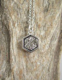 Silver Druzy Necklace Round Titanium Druzy by julianneblumlo