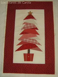 I adore this! Would have never thought to do a Christmas tree quilt in red. Christmas Patchwork, Christmas Sewing, Noel Christmas, Christmas Quilting, Christmas Runner, Christmas Tree Quilted Wall Hanging, Cute Christmas Tree, Country Christmas, Small Quilts