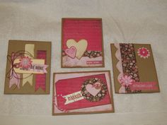 A set of 4 Valentine cards I made using Basic Grey's Kissing Booth line.