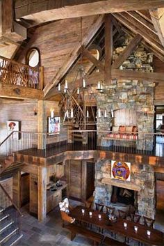 2 story fireplace  Brooks-falotico-architects-montana-Big-Sky-Family-Retreat-4