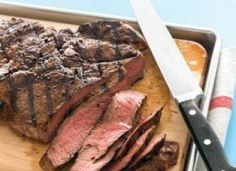 Make your next easy barbecue party a cinch by searing sirloin steaks on a hot grill. Cut into thin slices and serve with a selection of homemade toppings, including Sweet-Onion Relish, Spicy Green Sauce, and Tomato-Ginger Chutney. Grilled Steak Recipes, Grilling Recipes, Beef Recipes, Cooking Recipes, Grilled Food, Grilling Ideas, What's Cooking, Outdoor Grilling, Cooking Pasta