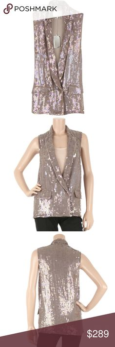 3.1 Phillip Lim Metallic Sequined Tuxedo Vest 3.1 Phillip Lim Sequined Tuxedo Vest  Make a shimmering style statement in 3.1 Phillip Lim's silver sequin-covered silk tuxedo vest. Drape it on over a tank and sleek pants for a sterling evening look. 3.1 Phillip Lim tuxedo has a peaked lapel, intentionally raw edge finishing and simply slips on, with two front snaps for closure. ***Brand new, and includes all original retail and designer tags.  Style: S209-6250ESS Color: Grey/Silver…