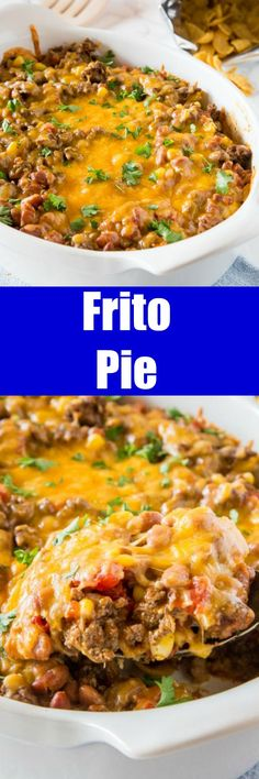 Frito Pie Recipe a Frito taco pie recipe that is great for busy weeknights. Delicious comfort food that the whole family love. Frito Pie Recipe a Frito taco pie recipe that is great for busy weeknights. Delicious comfort food that the whole family love. Frito Taco Pie Recipe, Taco Pie Recipes, Frito Pie, Oven Recipes, Casserole Recipes, Easy Dinner Recipes, Cooker Recipes, Mexican Food Recipes, Healthy Recipes