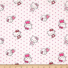 Sanrio Hello Kitty Flannel Dots Allover White from @fabricdotcom Designed by Sanrio and licensed to Springs Creative Products, this flannel cotton print is perfect for quilting, apparel and home decor accents. Colors include black, white and shades of pink.