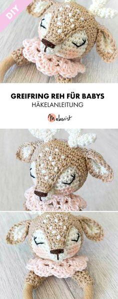 Süßer Greifring als Spielzeug für Kinder im Reh-Look - Häkelanleitung via Makerist.de  #häkelnmitmakerist #häkelnmachtspaß #häkeln #crochet #häkelnmachtglücklich #amigurumi #häkelsüchtig #häkelnfürkinder #kinder #spielzeug #baby #accessoires #diycrafts