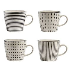 Tasse à thé café céramique motifs rayures et pois (par 4) Nordal