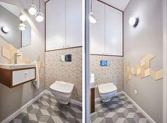 #modern #bathroom #geometry #wood #diamonds #tiles  Giełda Niebieskości – EG Projekt – Projektowanie Wnętrz – Warszawa
