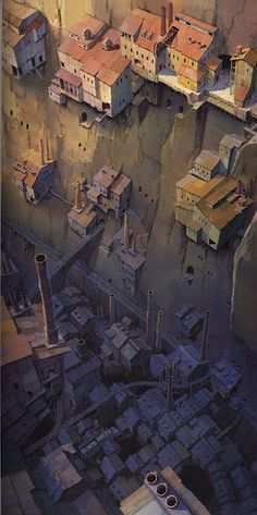 Studio Ghibli architecture (Laputa: Castle In Sky) This strong relate to the new theme because it focuses on buildings from above