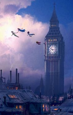 """You Can Fly"" Disney Peter Pan, Big Ben London #Neverland #art"