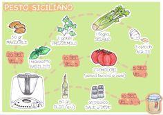 La ricetta visuale del pesto siciliano fatto con il bimby