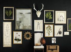 Gallery wall against a black wall... love the contrast!!