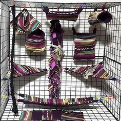 Aztec Wine Moss Cream * 15 PC Sugar Glider Cage set * Rat * double layer Fleece