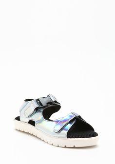 Silver Hologram Velcro Sandals - LoveCulture.com