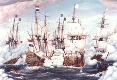 History: As shown in the picture England and France is fighting at sea with The Netherlands. In 1652 to 1674 there were 3 wars between England, France, and The Netherlands. England wanted to control The Dutch's shipping and trading. Germany and Spain helped The Dutch. They fought a lot at sea. In the end England and France signed a peace treaty with The Netherlands.