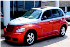 Chrysler PT Cruiser 2001. I bought it in 92..got some hail damage and bought a body kit custom paint...added headers and a throttle body and dual exhaust...it was cool and quick