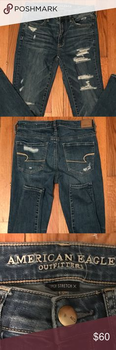 NWOT American Eagle Destroyed Skinny Jeans NWOT American Eagle Factory Destroyed Denim Skinny Jeans Size 6 Regular. ♦️First photo is for fit guide only, the jeans for sale are a Dark Rinse.♦️ American Eagle Outfitters Jeans Skinny