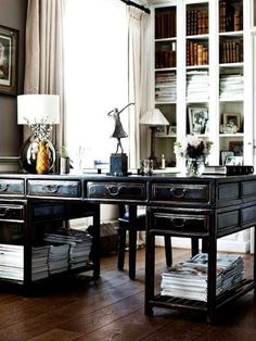 dens/libraries/offices - taupe walls glossy black Asian desk built-ins silk drapes  via Tumblr  Chic vintage office design with glossy black