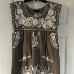 Zara embroidered mini sundress. Zara embroidered mini sundress, size extra small, olive color. In excellent condition. Dress also has pockets. Zara Dresses Mini